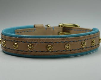 Vegetable Tanned Leather Dog Collar - Maé - Hand Sewn