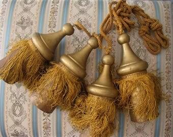 4 tassels French antique wood trim fringes 19th-century