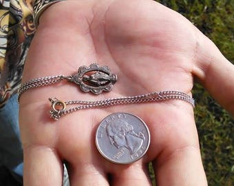 Antique MotherMary pendant and chain, Sterling