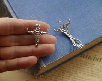 Small Antique Silver Cow Skull Head Steed Dainty Pearl Locket OPENS Hollow Diffuser Necklace Pendant Charm 26mm (SC3277)