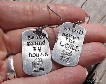 Handstamped Christian Earrings, Christian Jewelry, Joshua 24:15, Scripture Jewelry, Gift for Women, Religious Jewelry, Scripture Earrings