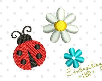 Three Mini Designs! Cute Ladybug  and Flowers Machine Embroidery Designs Set in 3 sizes DE055