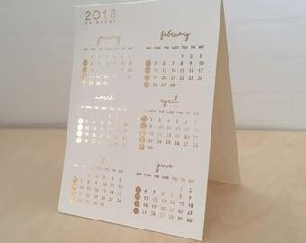 Gold Print 2018 Calendar, Customised Calendar, Add On Logo 2018 Calendar