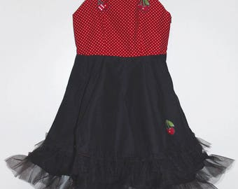 Dress with polka dots and cherries girl pattern