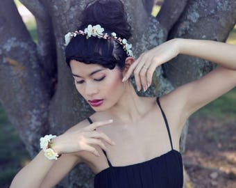 Pink and ivory hair flower Crown: Celina