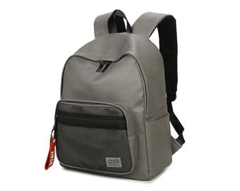 Basic Synthetic Leather Backpack with mesh pocket (Gray)