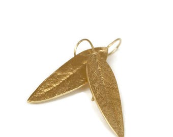 Eucalyptus Leaf Earrings, Botanical Jewelry, Long Gold  Vermeil Leaf  Drop Earrings   Artisan Handmade by Sheri Beryl