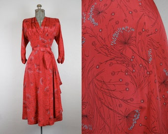 RESERVED/ 1940's Red Novelty Print Rayon Dandelion Dress / Size Medium