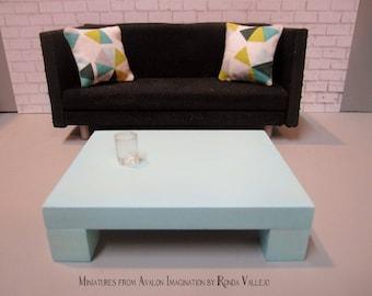 1:12 scale Modern Dollhouse Coffee Table in Aqua