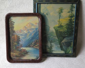 Two Nature Prints Original 1940s Frames Mountains Forest Stream Vintage Metal Frame Scenery Western Country Farmhouse Rustic Decor Autumn