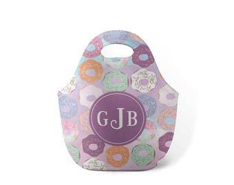 Personalized Lunch Tote - Purple Donuts - Custom Lunch tote for Children