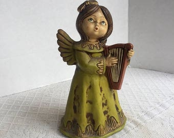CIJ Mid Century Chalkware Angel Made in Japan / Hand Painted Vintage Green and Gold Christmas Angel Figurine