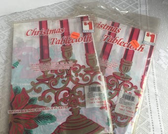 Vintage Plastic Christmas Tablecloth / 52 X 72  Red and Gold Poinsettia and Candles Tablecloths