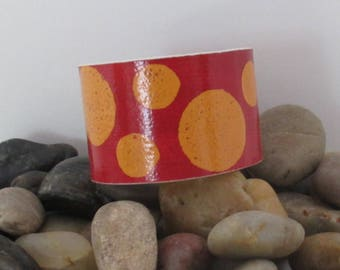 Polka Dot Painted Cuff Bracelet, made from Recycled Linoleum