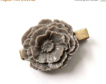 SUMMER SALE Flower Hair Clip Vintage Style Beautiful Large Mauve Purple Grey Hair Clip Antique Bronze Tone for Adults Formal Girls Wedding B