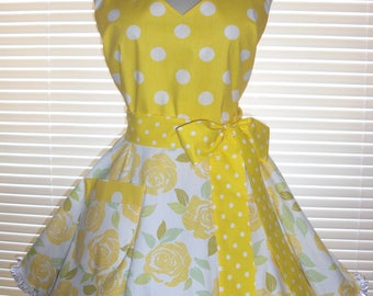 1950's Style Retro Apron Yellow White Large and Small Polka Dots Paired with Yellow Roses Circular Flirty Skirt