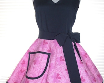 Fifties Style Sweetheart Retro Apron Candy Pink and Black Circular Flirty Skirt