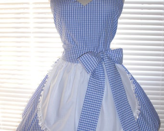 Retro Inspired Costume Apron French Maid Apron Blue and White Gingham