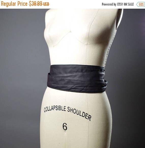 ON SALE Vegan Leather Obi Belt - Black Leather Obi Belt - Women's Wrap Belt - Double Wrap Obi Belt