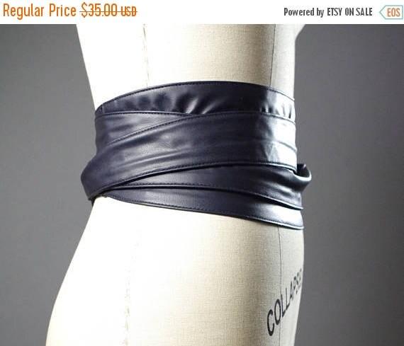 ON SALE Vegan Leather Obi Belt - Navy Leather Obi Belt - Women's Wrap Belt - Double Wrap Obi Belt