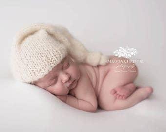 Newborn Sleepy Cap, Newborn Sleepy Hat, Photo Prop, Night Cap Beanie, Night Cap Hat, Sleepy Beanie, Newborn Knit Sleepy Neutral Tones Hat