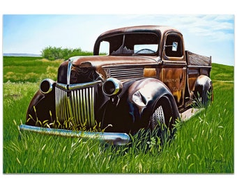 Americana Wall Art 'Out to Pasture' by Todd Mandeville - Classic Trucks Decor Country Rustic Automobiles on Metal or Plexiglass