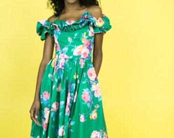 Vintage 80s Print Dress, 1980s Dress, 80s Print Dress, 80s Green Flower Dress, 80s Ruffle Off the Shoulder Collar dress, Eighties