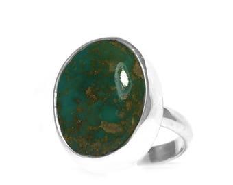 Petite Silver Boho Turquoise Gemstone Ring Size 5   Natural Paradise Mineral Jewelry   Nevada Semiprecious Stone