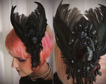 Escoffion hat hair fascinator w/ cage bird wings, vintage button, lace and feathers with dripping bead drops ~ Steampunk Fairytale