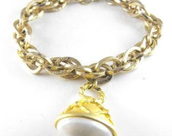 Victorian Revival Bracelet Fob Charm Stamped Golden Brass Chain Pearl Tip Watch Fob Charm