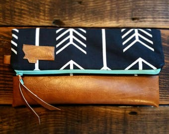 Local Original Special-Foldover Montana Clutch/Black with white arrows/Caramel brown vegan leather details/Teal zipper/Montana patch bags