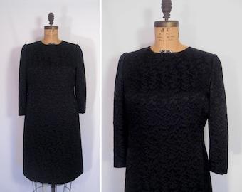 1950s 1960s noir cocktail dress • 50s 60s black mid-century minimalist matelasse party dress • vintage fly me to the moon dress