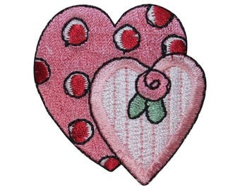 ID 3236 Pair of Pink Hearts Patch Valentines Day Embroidered Iron On Applique