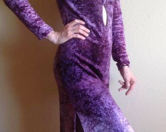 Fabulously Funky Crushed Velvet, Violet Maxi Dress, Plunging Neckline, Wiggle Dress, 1960's Era, Hippie, XS