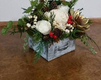 Sola Wood centerpiece ,  Centerpieces, ready to go reception decor, winter Centerpiece,wedding centerpiece, pinecone gold,  pine Centerpiece