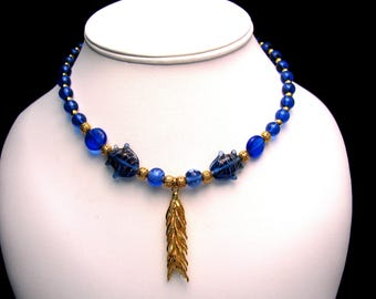 Blue Fish Glass Beaded Necklace With Gold Wheat Pendant - Item 127