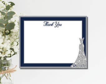 Bridal Shower Thank You Cards Navy Wedding Thank You Cards Thank You notes bridal shower thanks printed thank you cards printable