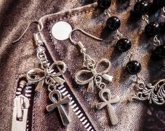 Silver earrings Boho Chic Egyptian ankh ☥ Pirate Skull ☥