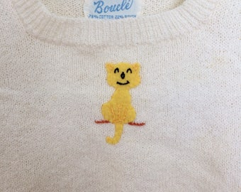 Vintage baby shirt Boucle with yellow cat 9m 12m