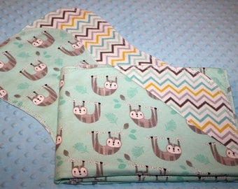 Hemstitched Flannel Baby Blanket and 2 Burp Cloths Kit Sloth Hanging On Branch with Coordinating Fabric on Reverse Side