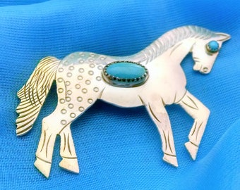 Brooch Vintage Hand Forged Horse Stallion, Sleeping Beauty Turquoise, Sterling Silver, Unique Engraved Signed