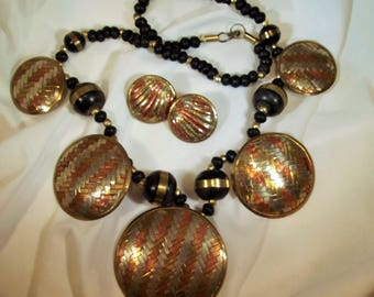 Necklace Earring Set Vintage Hand Forged Woven Copper Brass Wood Beads Statement Necklace Earring Set Exotic Boho Chic Runway
