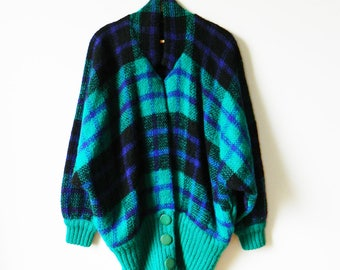 Oversized Vintage Wool and Mohair Slouchy Sweater / Rad Plaid Sweater Coat in Teal / 80s Slouchy Knit Cardigan