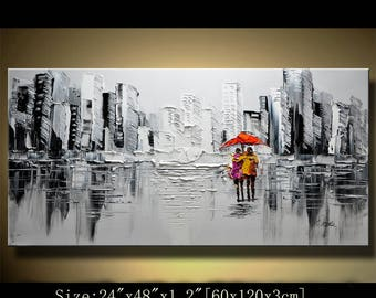 Abstract Wall Painting,Original Acrylic Painting,Impasto Thick Texture Modern Palette Knife painting Wall Decor,Contemporary art by Chen 629