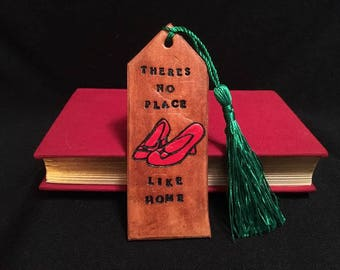 Brown Leather Wizard of Oz Ruby Slipper Bookmark