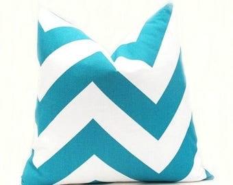 15% Off Sale Turquoise Pillow, decorative throw pillows,Aqua Pillow, Chevron Pillow, Accent Pillow, Blue Pillow , Zippy,  Cushion Cover All
