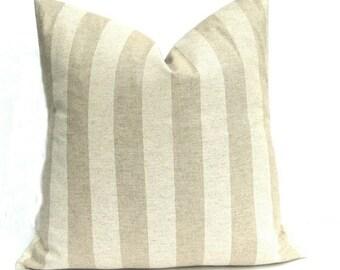 15% Off Sale TAN PILLOW, Decorative pillow cover,  Striped Pillow Cover ,taupe pillow, linen Pillow Covers -Taupe pillow - Accent pillow lin
