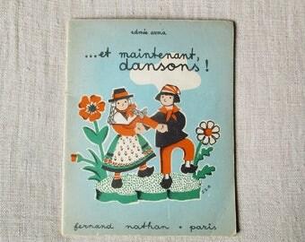 Antique french song book, 1949, Vintage music sheets, Song for children, Illustrations, France Paris, Livre de musique enfants