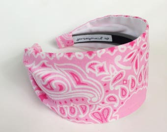 Cute unique pink Vintage cotton bandana made in usa bandana headband recycled repurposed upcycled shabby cute pink hairband