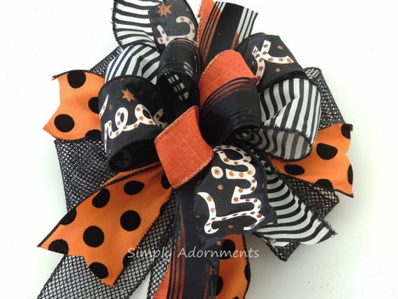 Black Orange Trick or Treat Bow Funky Halloween Trick or Treat Lantern Bow Wreath Bow Trick or Treat Halloween Door Hanger Bow Gift Bow
